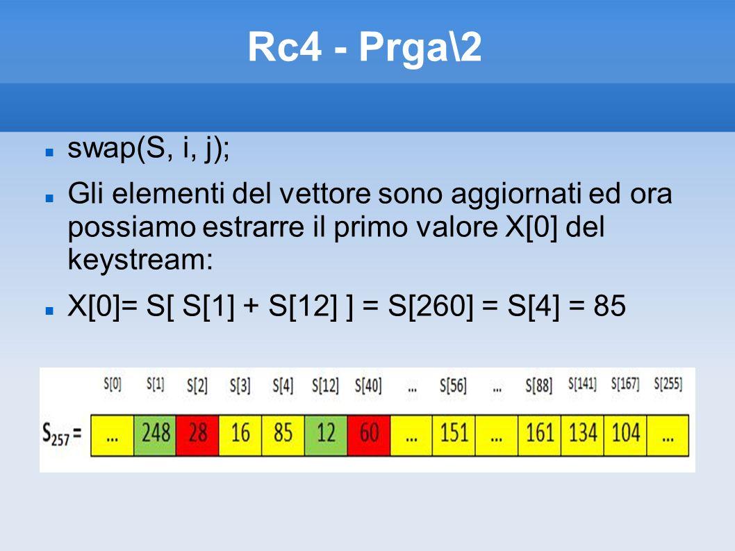 Rc4 - Prga\2 swap(S, i, j); Gli elementi del vettore sono aggiornati ed ora possiamo estrarre il primo valore X[0] del keystream: